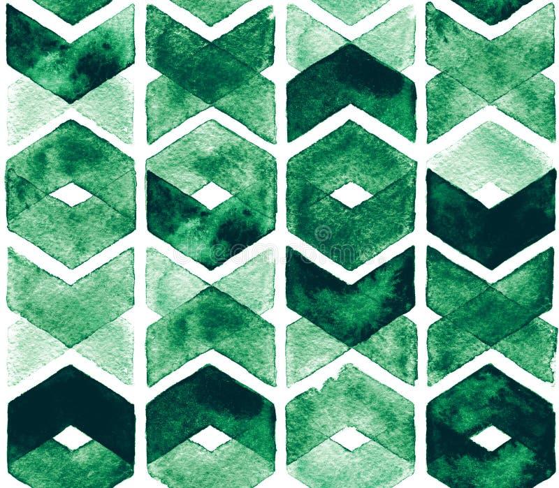 De groene kleuren van de waterverfchevron op witte achtergrond Abstract naadloos patroon voor stof Weelderige weide royalty-vrije illustratie