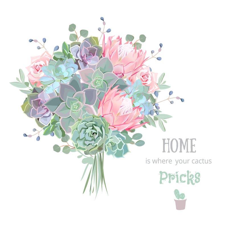 De groene kleurrijke reeks van het succulents vectorontwerp Echeveria, protea, eucaliptus stock illustratie