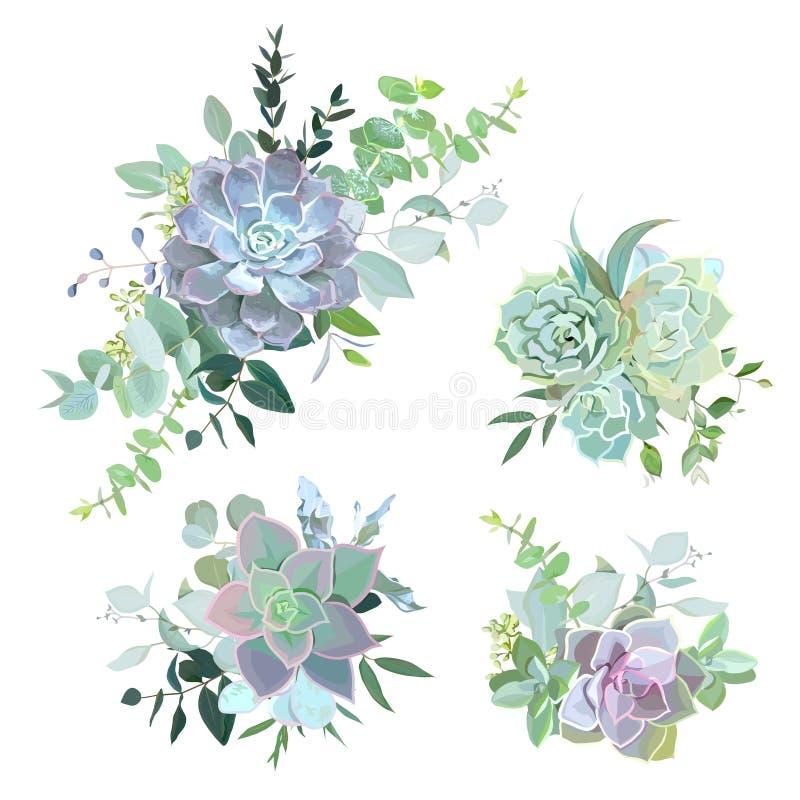 De groene kleurrijke succulente voorwerpen van het boeketten vectorontwerp vector illustratie