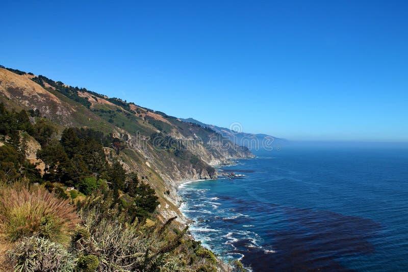 De groene klippen ontmoeten de Vreedzame Oceaan in Californië, de V.S. royalty-vrije stock fotografie
