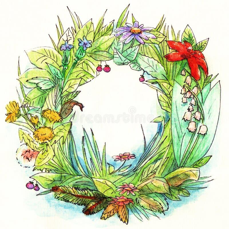 De groene kroon van de de zomertuin met verschillende bloemen, bladeren, gras hand-drawn in waterverf met een zwart lineair overz royalty-vrije illustratie