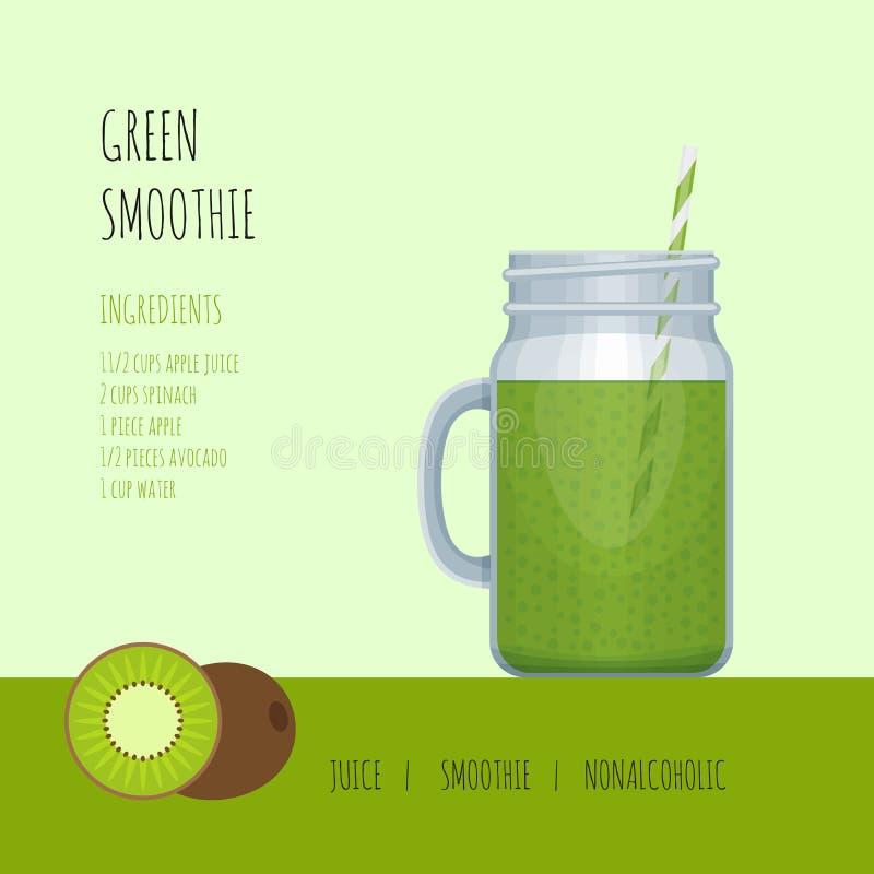 De groene kruik van de smoothiemetselaar met recepten en ingrediënten smoothie vector illustratie