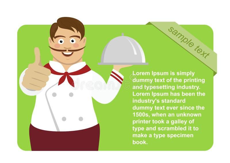 De groene lege raad met leuke mannelijke chef-kok die het zilveren dienblad tonen houden beduimelt omhoog stock illustratie