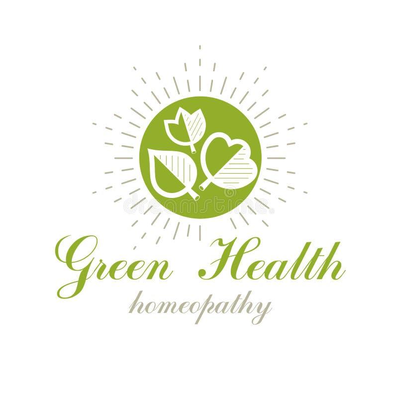 De groene lente verlaat vectorsymbool voor gebruik in holistic geneeskunde, rehabilitatie of farmacologie Symbolische Wellness en royalty-vrije illustratie