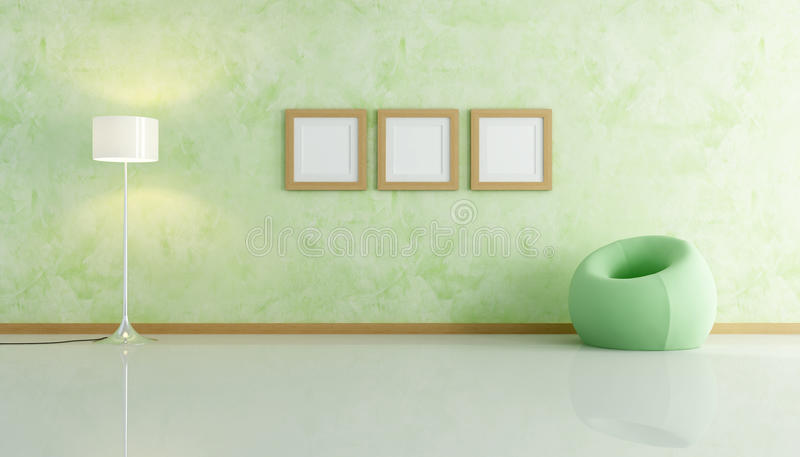 De groene leunstoel van de fluweelmanier royalty-vrije illustratie