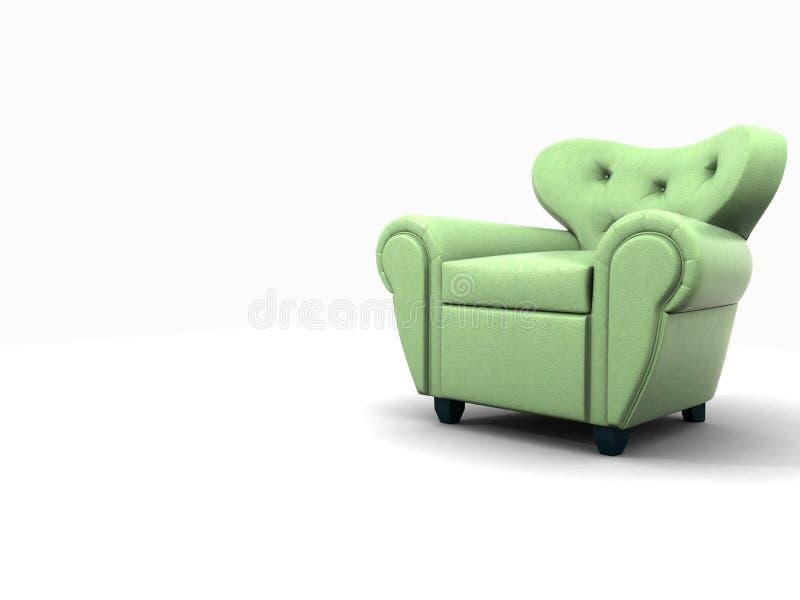 De groene leunstoel van de leerdoek stock afbeelding