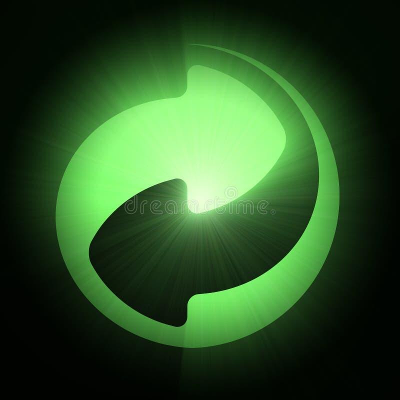 De groene lichte gloed van het punt kringloopsymbool vector illustratie