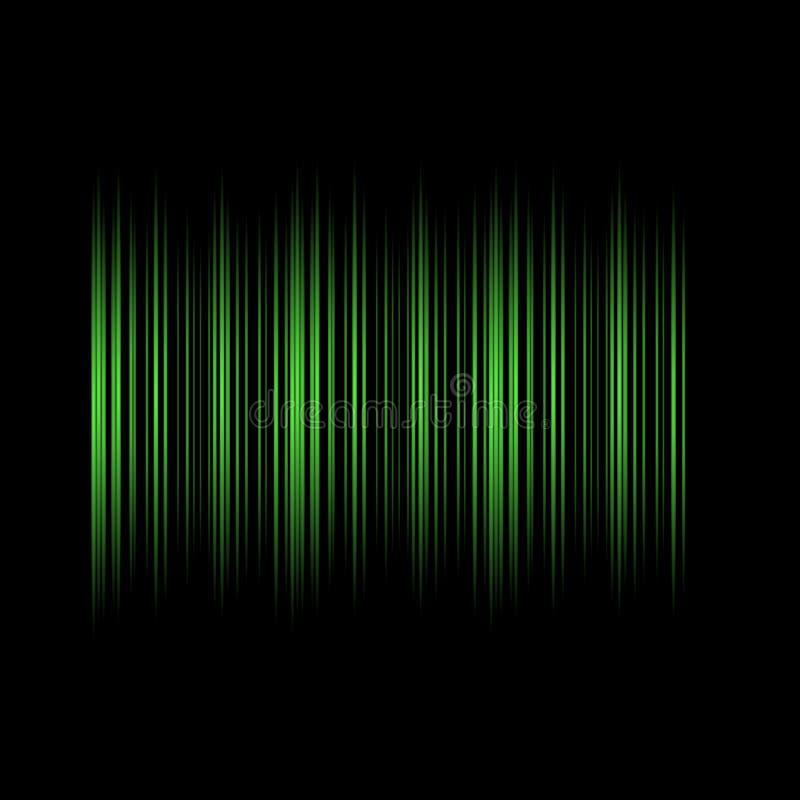 De groene Lijnen op Zwarte Samenvatting Als achtergrond ontwerpen Moderne Technologievector royalty-vrije illustratie