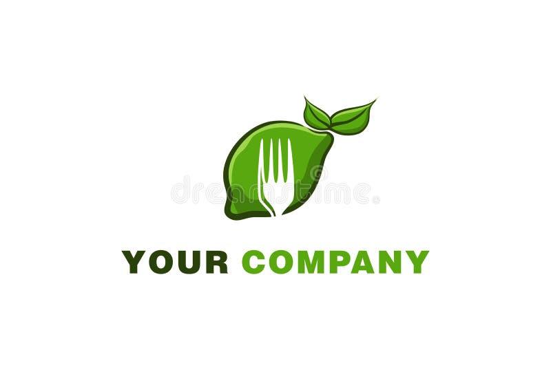 de groene limonade en de vork, gezond die voedselembleem ontwerpen Inspiratie op Witte Achtergrond wordt geïsoleerd vector illustratie