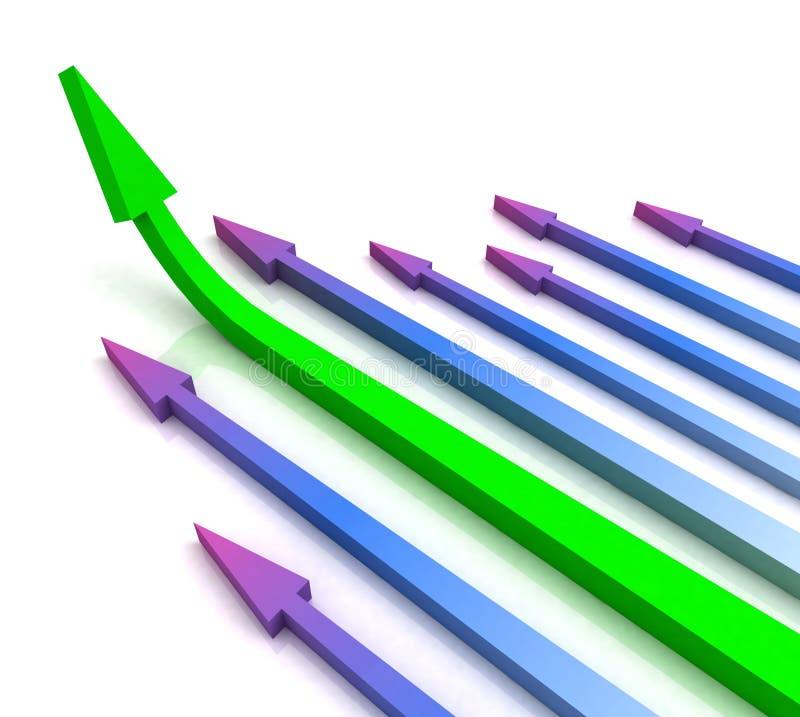 De groene LinkerPijl toont vooruit de Groei royalty-vrije illustratie