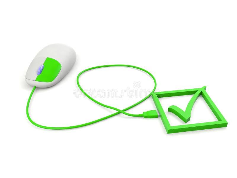 De groene linkerzijde klikt aan het correcte teken verwijst naar cyberveiligheid stock illustratie