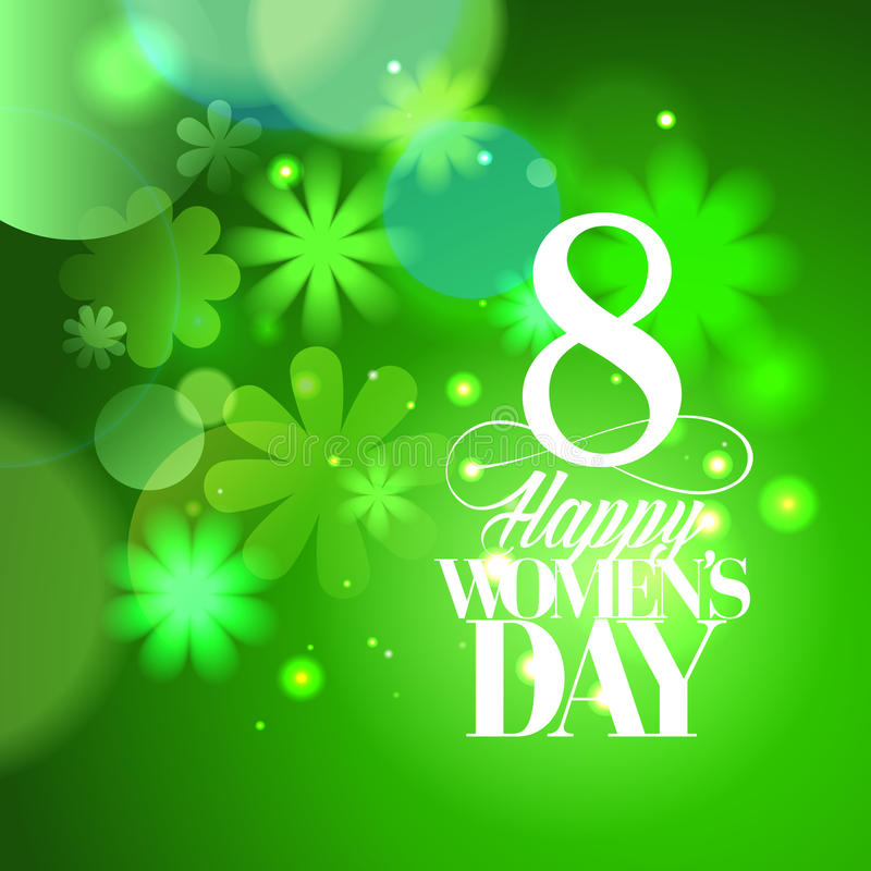 De groene 8 maart-kaart van de Vrouwen` s dag met bloemen royalty-vrije illustratie