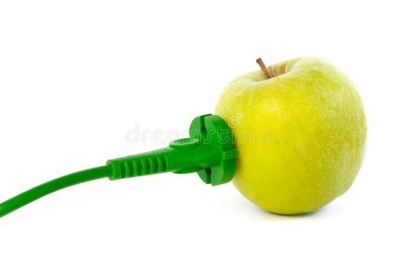 De groene machtskabel maakte aan appelafzet vast stock foto