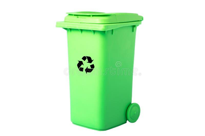De groene mand met het recycling van pictogram isoleert milieuconcept royalty-vrije stock afbeelding