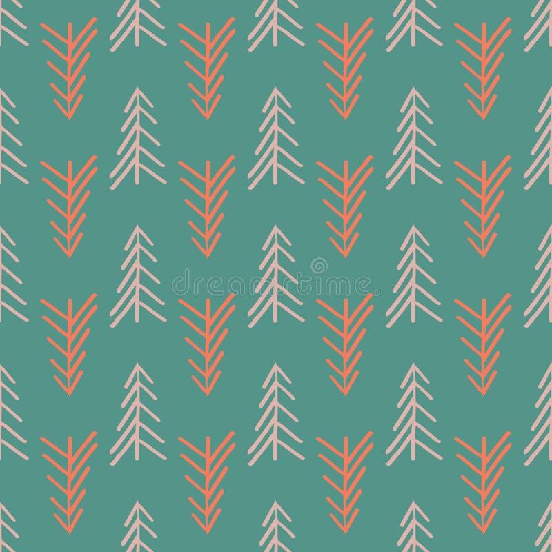 De groene naadloze visgraatboom herhaalt patroon vector illustratie