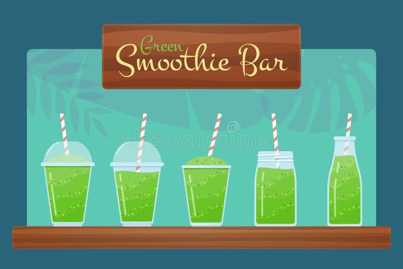 De groene natuurlijke vectorreeks van het detoxdieet smoothie stock illustratie