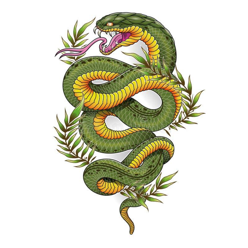 De groene oosterse slang met laurier verlaat vectorillustratie stock afbeeldingen