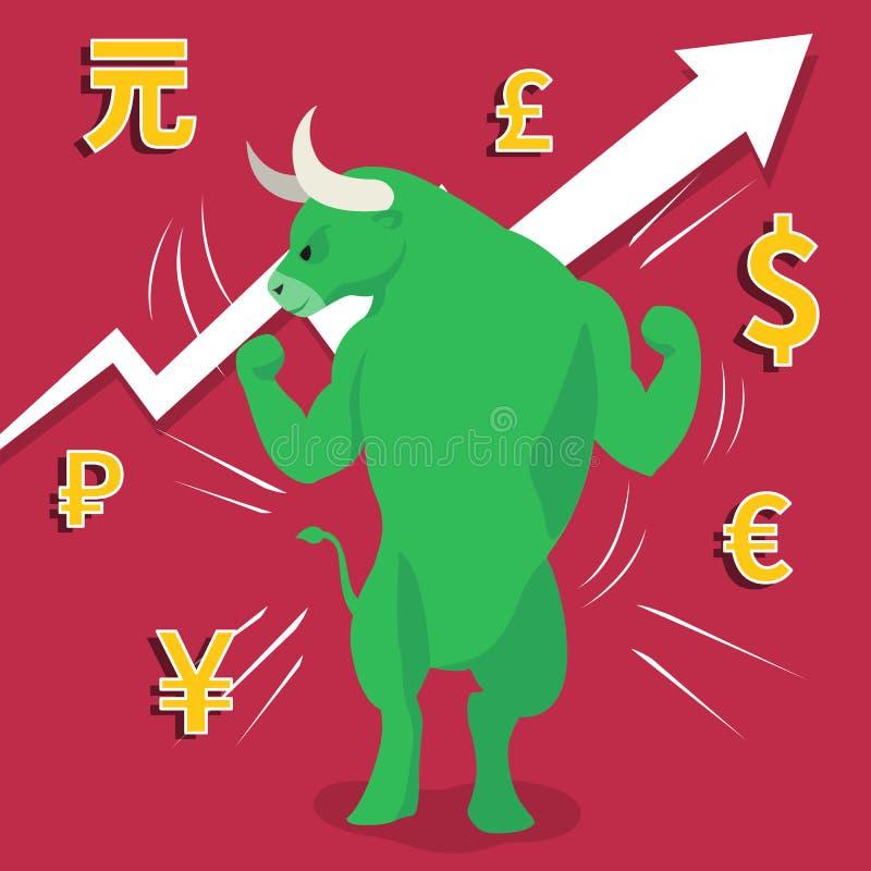 De groene oplopende markt stelt uptrend effectenbeursconcept voor royalty-vrije illustratie