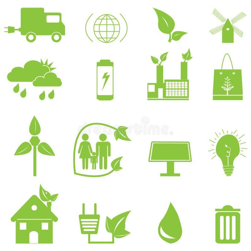 De groene Pictogrammen van de Ecologie vector illustratie