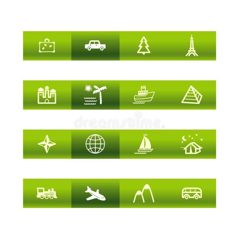 De groene pictogrammen van de staafreis stock illustratie