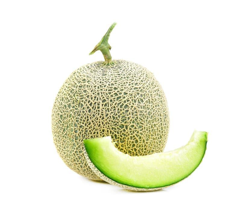 De groene plakken van de kantaloepmeloen groene kantaloep meloen geïsoleerd o stock foto