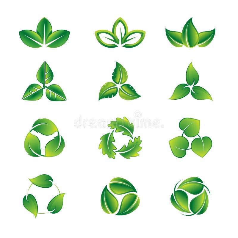 De groene reeks van het bladerenpictogram vector illustratie