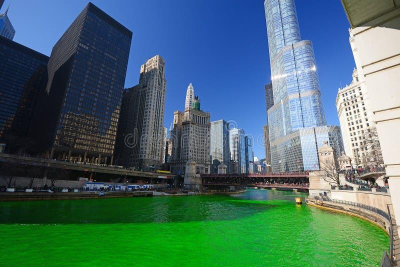 De groene rivier van Chicago royalty-vrije stock foto
