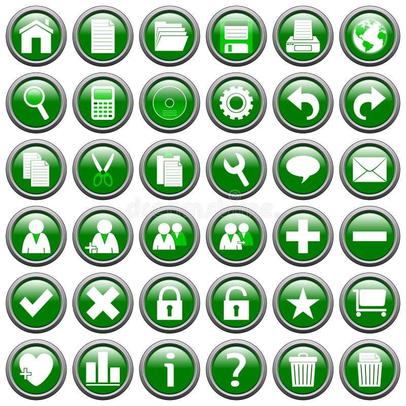 De groene Ronde Knopen van het Web [1] royalty-vrije illustratie