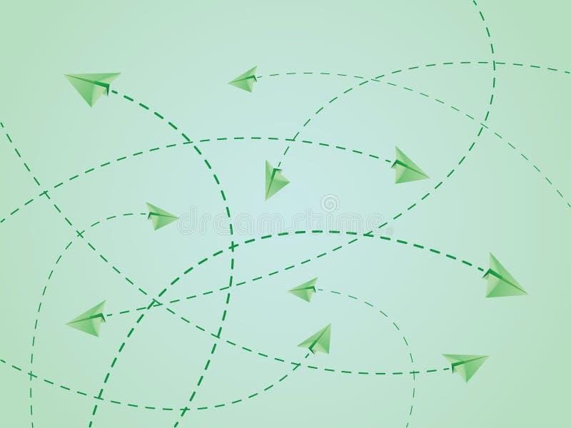 De groene routes van de kleurenvlucht van document vliegtuig of vliegtuigen met de kruising van lijnen royalty-vrije illustratie