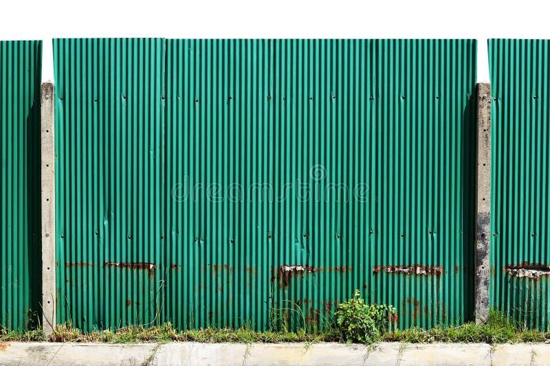 De groene staalplaat, zinkomheining, galvaniseerde omheining voor textuur en grote grootte als achtergrond royalty-vrije stock foto