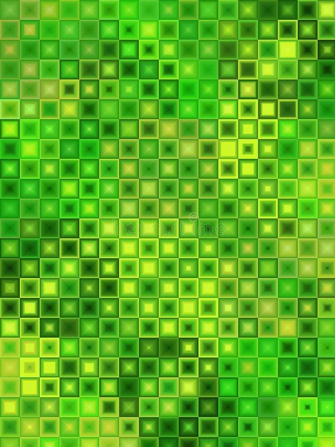 De groene Tegels van het Gele Mozaïek stock illustratie