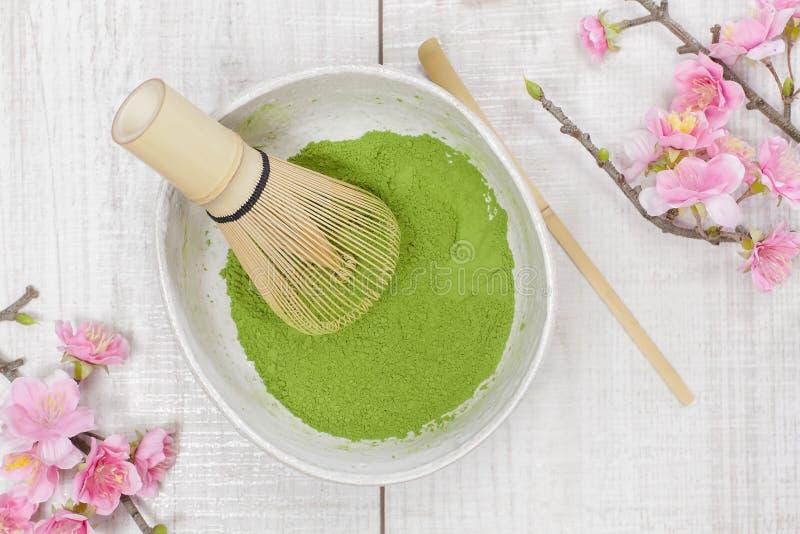 De Groene Thee van Matcha stock fotografie