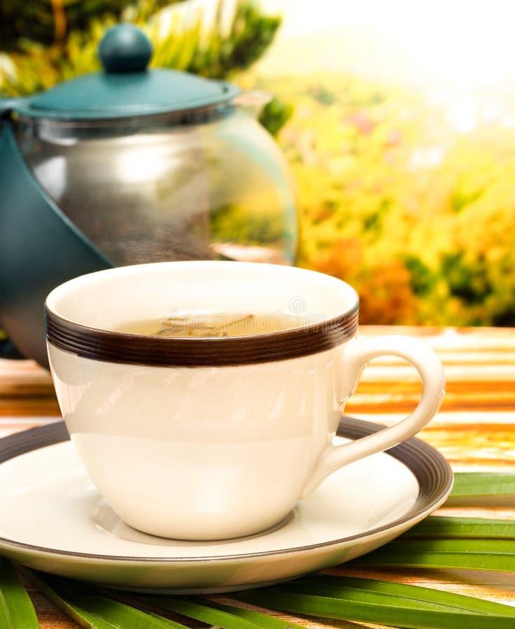 De groene Theepauze vertegenwoordigt Verfrissingenkoffie en Restaurant royalty-vrije stock afbeeldingen