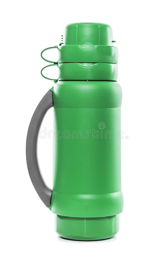 De groene thermosflessen stock foto's