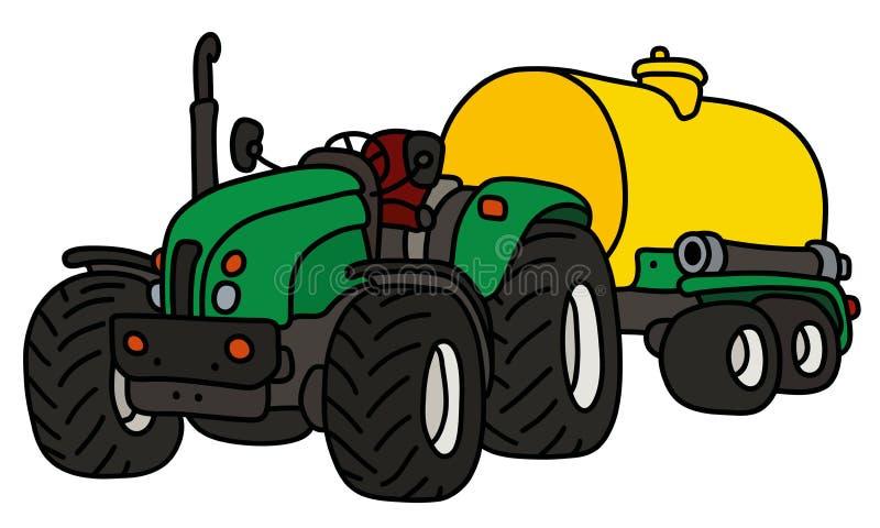 De groene tractor met een gele tank vector illustratie