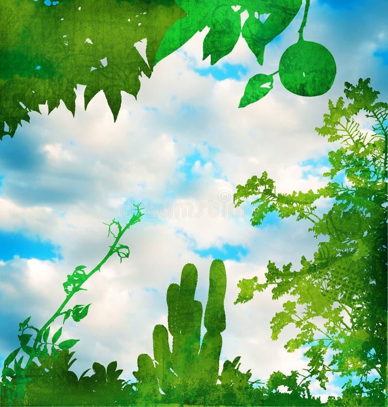 De groene tuin van Grunge met hemel stock illustratie