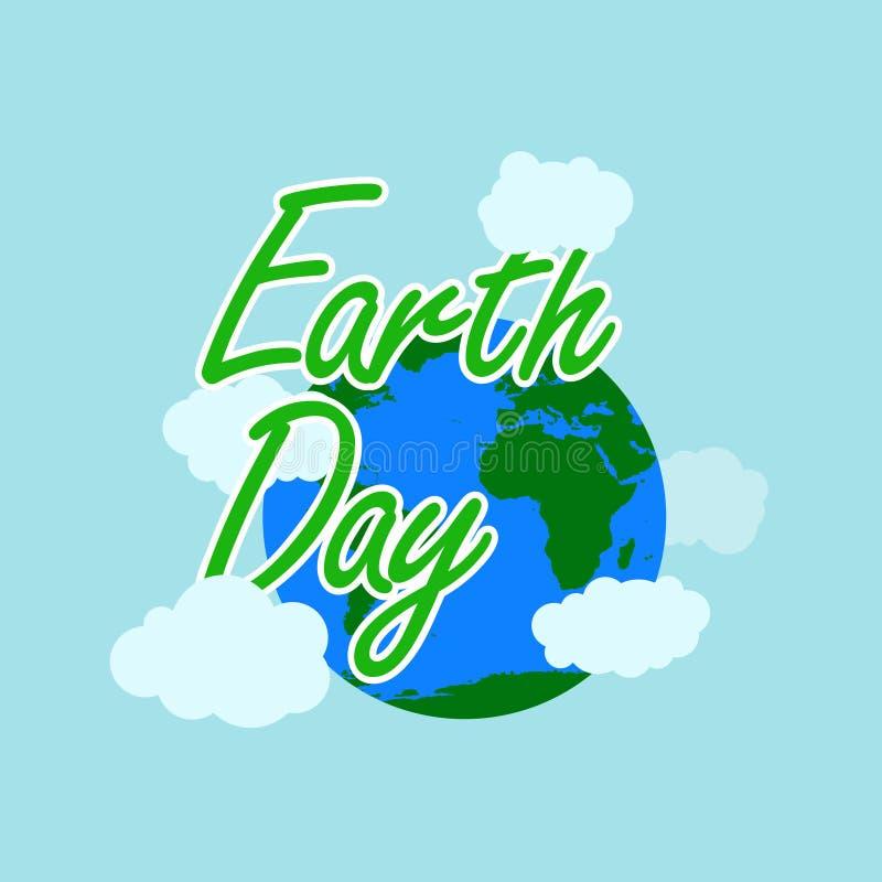 De groene typografie van de aardedag met witte overzichtsaarde en de wolk bij achter hebben aarde en wolk gelukkige aardedag, 22  stock illustratie