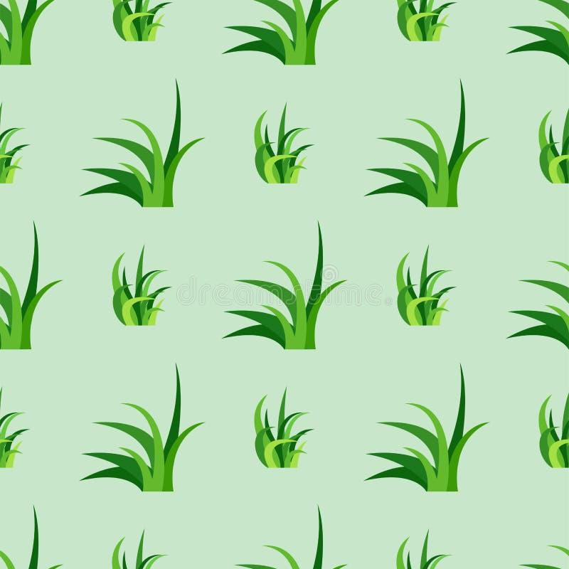 De groene van het het ontwerp naadloze patroon van de grasaard vectorillustratie kweekt de aardachtergrond van de kruidlandbouw vector illustratie
