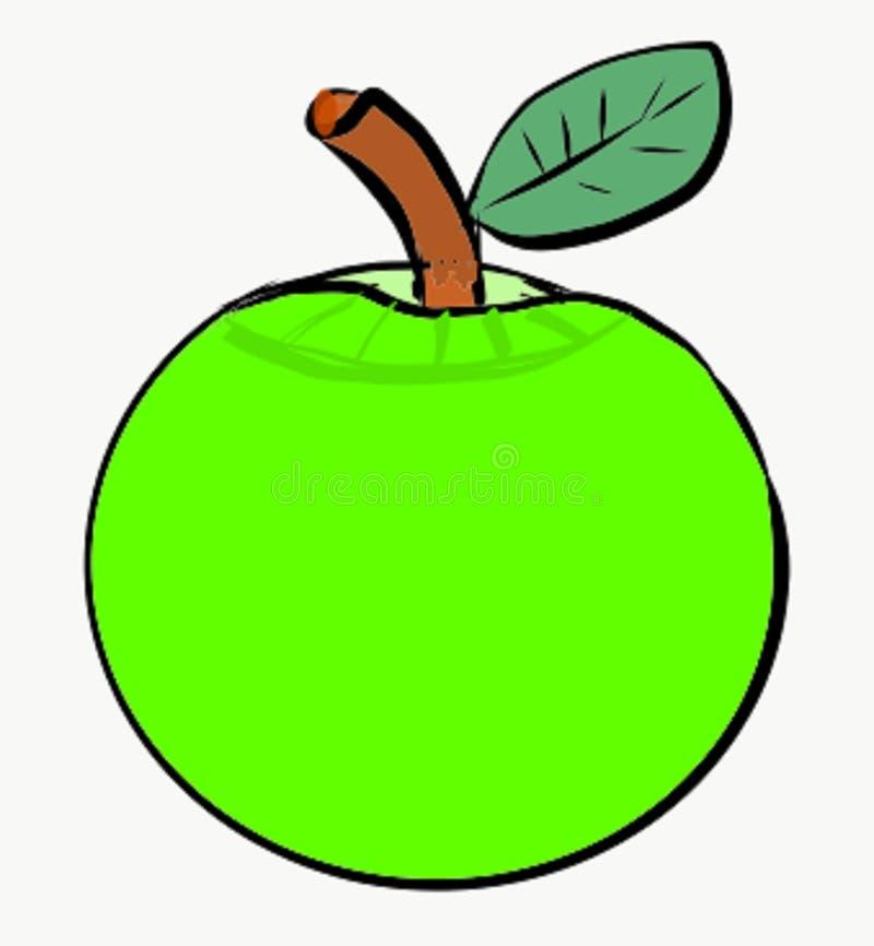 De groene van het het Ingrediëntenfruit van appel grote ronde fruitige zure smakelijke Art Illustration Vector Photo Food Samenva stock illustratie