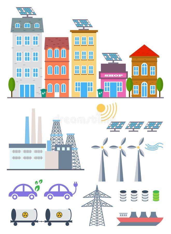 De groene vastgestelde elementen van Stadsinfographic Vectorillustratie met ecopictogrammen Milieu, ecologie infographic elemente royalty-vrije illustratie
