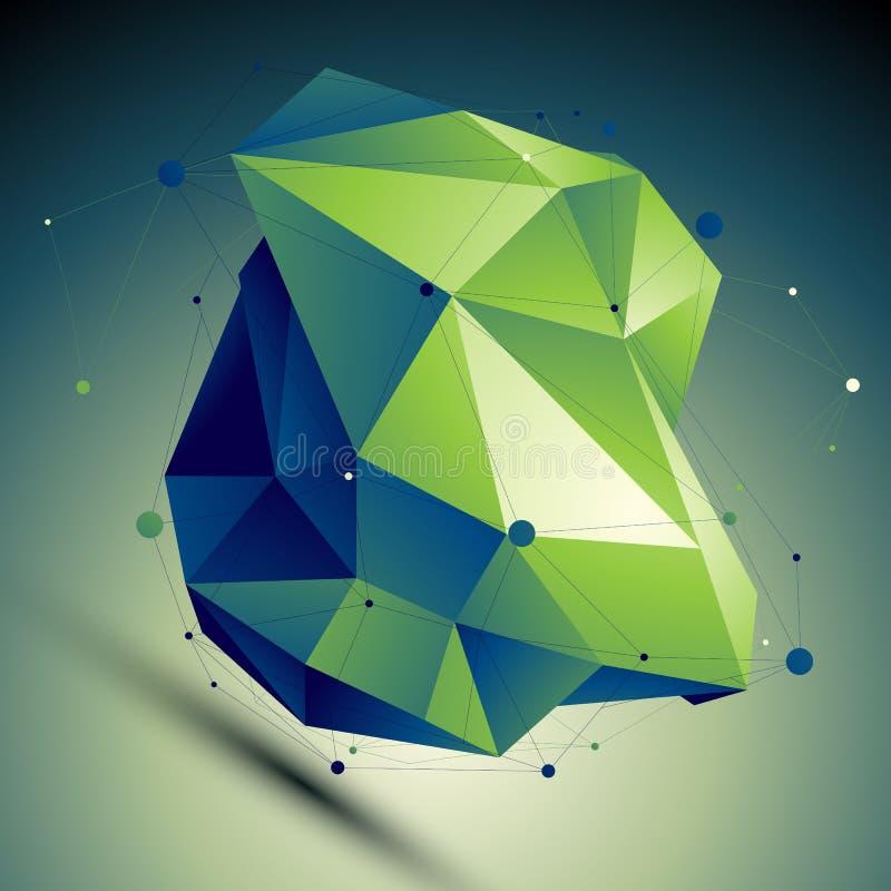 De groene vector digitale 3d abstractie, voorziet geometrische veelhoekig van tralies royalty-vrije illustratie