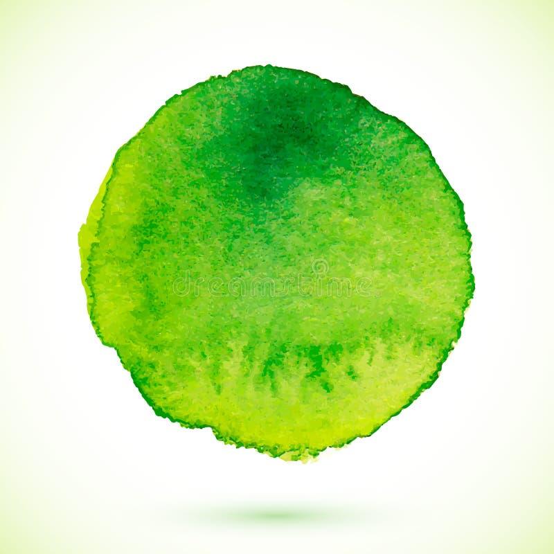 De groene vector geïsoleerde cirkel van de waterverfverf royalty-vrije illustratie