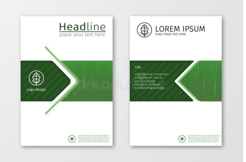 De groene vector van het het ontwerpmalplaatje jaarverslag van de bedrijfsbrochurevlieger royalty-vrije illustratie