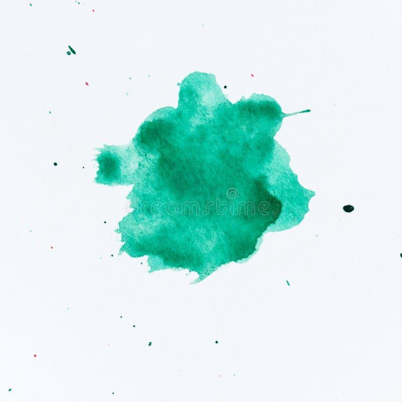 De groene verf ploetert Verfplons op witte achtergrond Watercol stock foto's