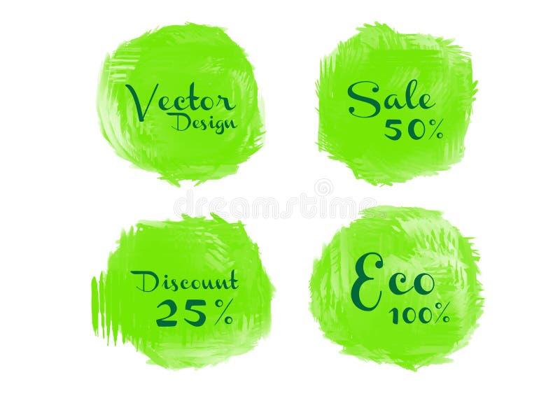 De groene verf van de waterverfcirkel, Grunge-cirkel, pictogramontwerp, Hand getrokken ontwerpelementen, vectorkwaststreken royalty-vrije illustratie