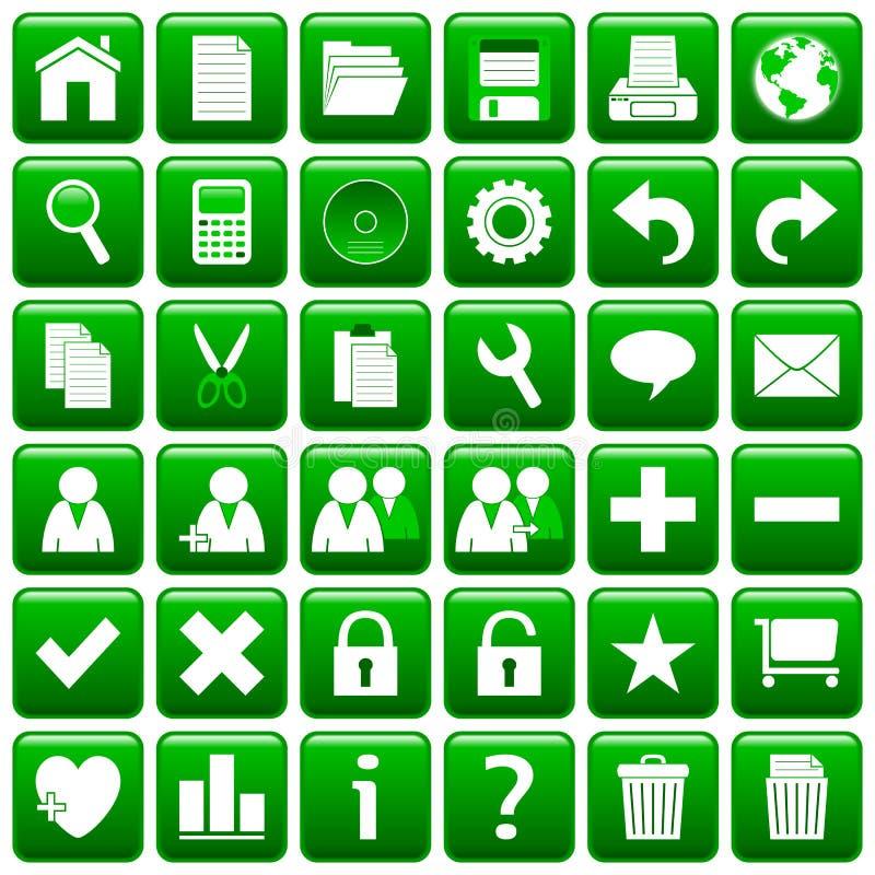 De groene Vierkante Knopen van het Web [1] royalty-vrije illustratie