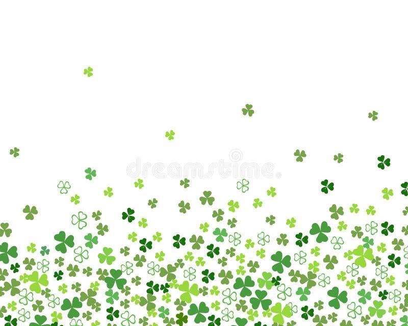 De groene vlakke die bladeren van de klaverklaver op witte grens als achtergrond voor St Patrick ` s dag worden geïsoleerd vector illustratie
