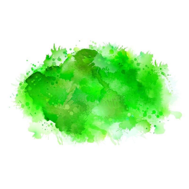 De groene vlekken van de schaduwwaterverf Helder kleurenelement voor abstracte artistieke achtergrond royalty-vrije illustratie