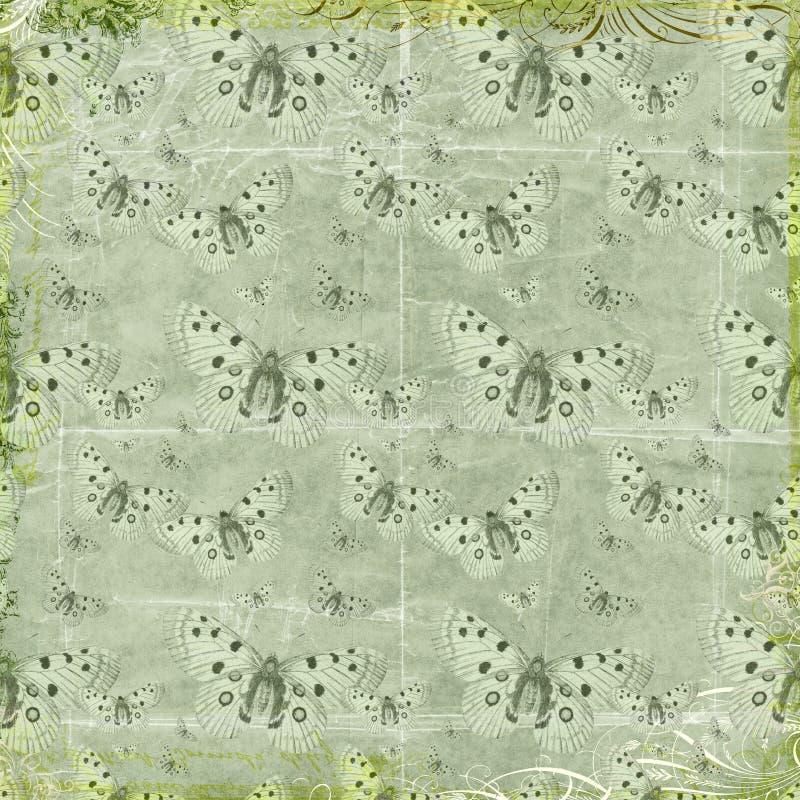 De groene vlinders herhalen patroonachtergrond stock foto