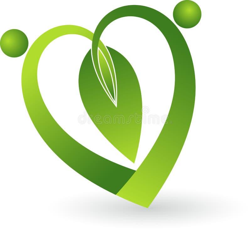 De groene vorm van het bladhart vector illustratie